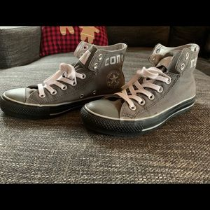 Gray High Top Converse with Logo Silver Lining